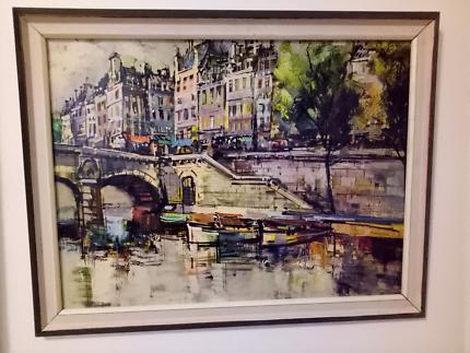Large vintage framed &quot Paris&quot print