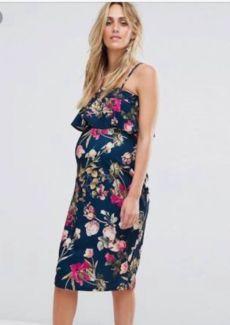 ASOS Maternity Ruffle Bandeau Midi Dress size 10 worn once